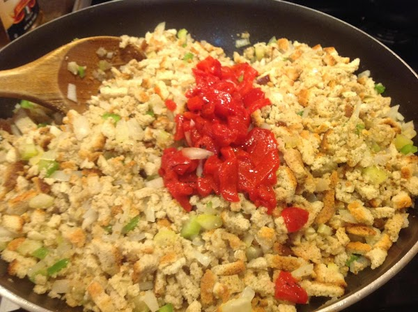 Add in the chopped roasted red peppers and stir again.