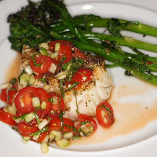 Grilled Grouper with Tomato, Cucumber & Basil Salad and Broccolini.