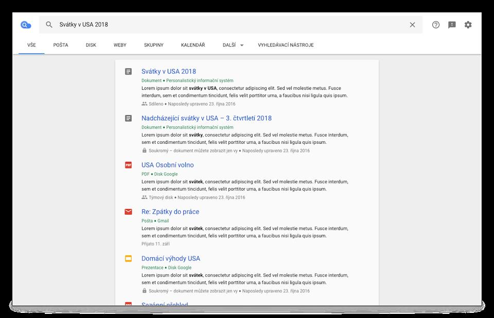 Zobrazení služby Cloud Search vprohlížeči