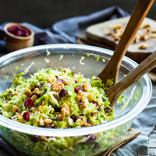 Shredded Brussel Sprouts with Cranberries & Walnuts.