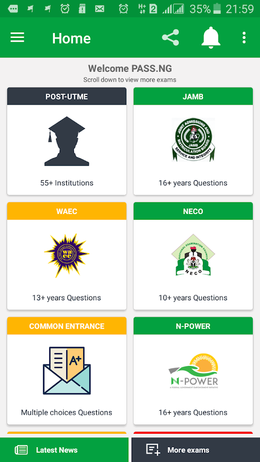 PASS.NG (Post-JAMB, JAMB UTME, WAEC, NECO)- screenshot