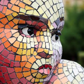 girl by Cretu Stefan Daniel - Abstract Fine Art ( mazaic, girl, colors, lips, young )