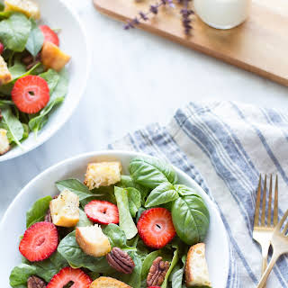 Strawberry Basil Pecan Salad with Goat Cheese Dressing.