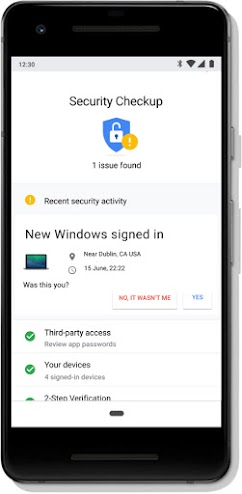 Google Account Security Checkup screen on a mobile phone