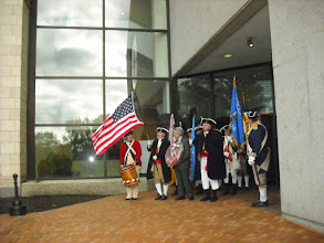 Photo: Combined GLD Color Guard Marching to Gerald R Ford Museum and grave site with drummer