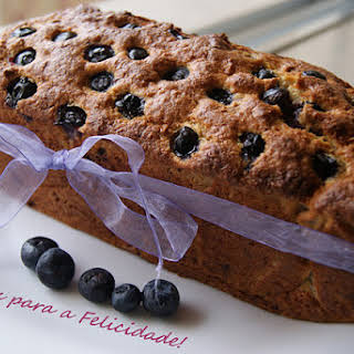 Banana Cake with Blueberries and Coconut.