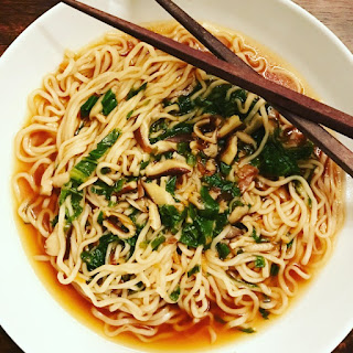 Sriracha Ramen Soup with Bok Choy and Shiitake Mushrooms.