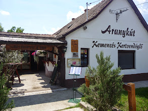 Photo: Restaurant across the road of wheelchair accessible holiday home. Entrance, one step of 8cm. Hungarian food and Pizza.