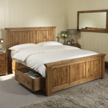 Solid wood bed with underbed storage