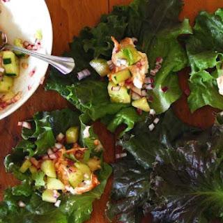 Harissa Chicken Lettuce Wraps with spicy cucumber salad