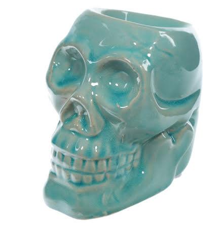Aromalampa i Keramik Dödskalle Turkos