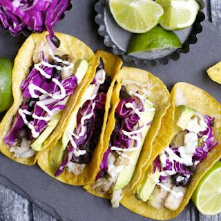 Avocado and Black Bean Fish Tacos with Jalapeño Ranch.