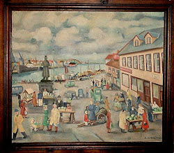 Photo: Cubist painting of the Stavanger Torvet by Erik Haugaland. The clouds are especially cubist.