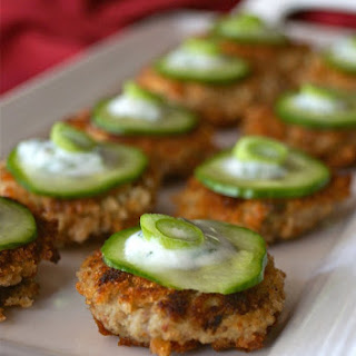 Spicy Eggplant-Almond Cakes Recipe with Cilantro-Lemon Yogurt
