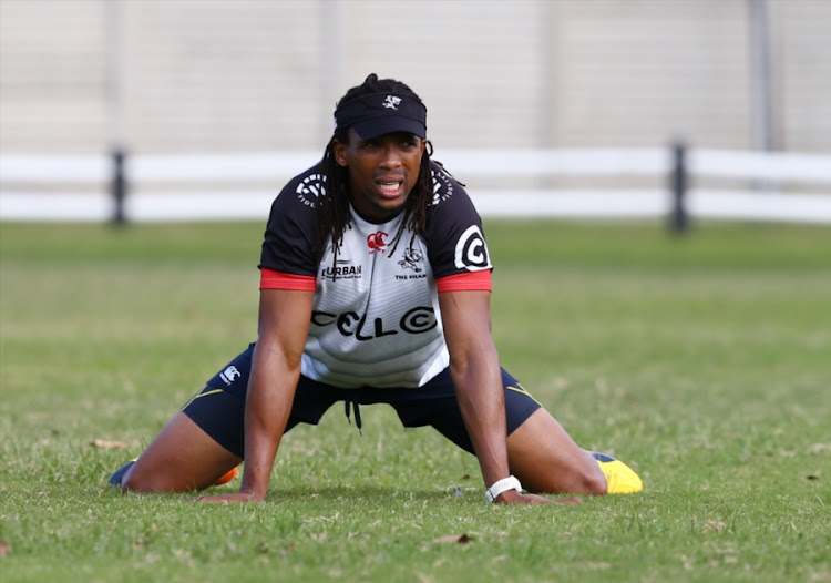 Odwa Ndungane during the Cell C Sharks training session at Growthpoint Kings Park on August 07, 2017 in Durban, South Africa.