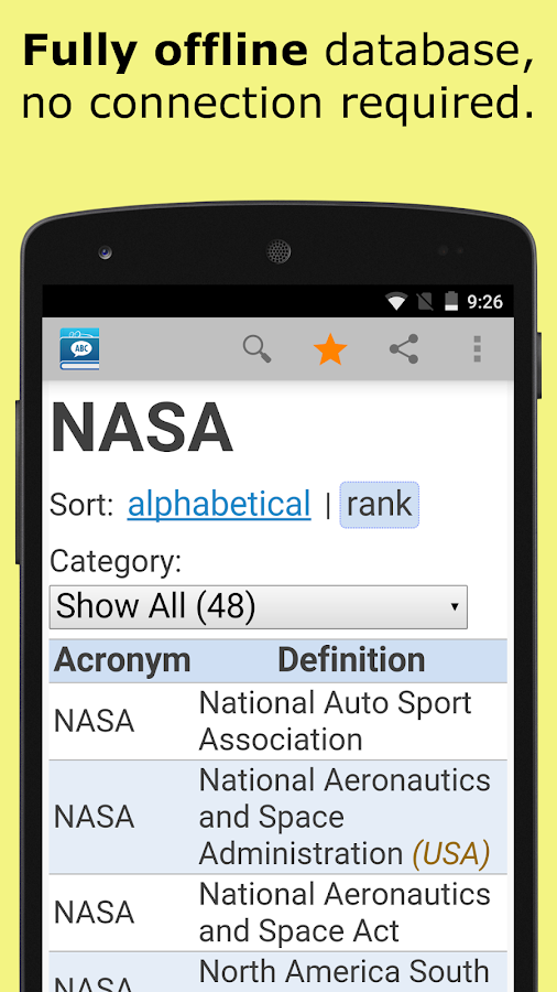 Acronyms and Abbreviations- screenshot