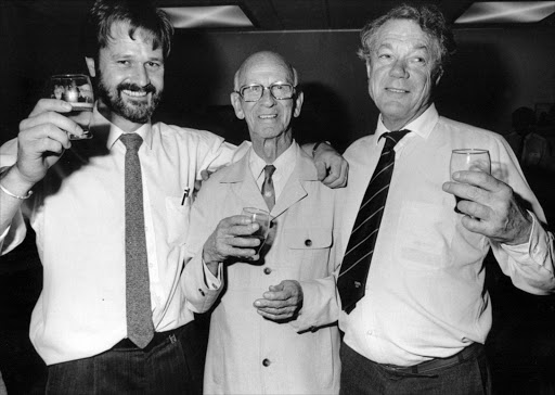February 28, 1992. EDITORS ALL IN A ROW: Mark van der Velden, David Friedman and Ed Linington on February 28 1992 Picture: JOE SEFALE. Pic: Joe Sefale.  © Sunday Times