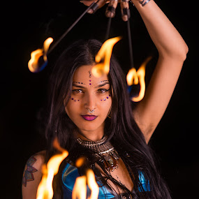 by John Smith - People Portraits of Women ( music, model, ethnic, beautiful, dark, beauty, fire fingers, natural, hair )