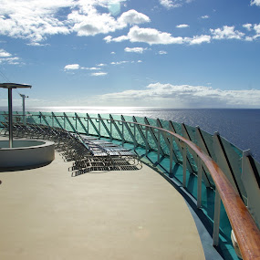 Rear Deck on the Cruise Ship by Kirk Barnes - Transportation Boats ( cruise ship, ocean cruise, adventure of the seas, deck chairs, sun deck,  )