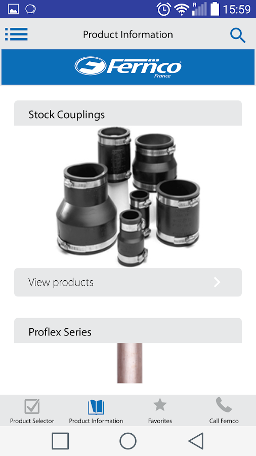 Fernco Product Selector- screenshot