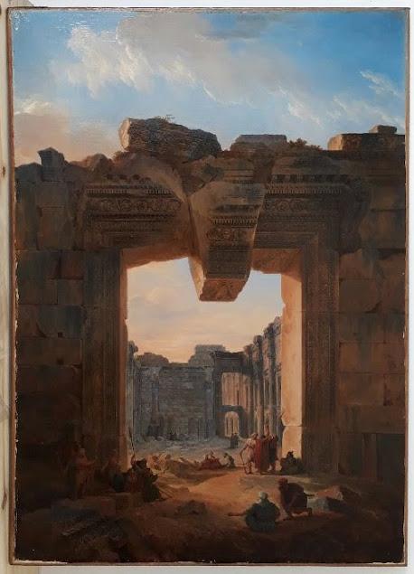 Louis-François Cassas, Personnages dans les ruines du temple de Bacchus à Baalbek, 1785