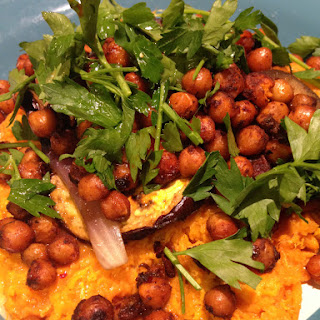 Harissa Chickpeas With Sweet Potatoes And Roasted Aubergine.