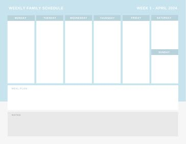 Plain Family Schedule - Planner Template