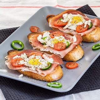 Quail Eggs Crostini