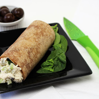 Chicken Salad In A Whole Grain Wrap With Spinach.