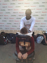 Photo: My turn for a free massage in Herald Square, thanks to #DRExcedrin