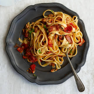 Linguine with Clams, Bacon, and Tomato.
