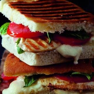 Grilled Chicken Panini Recipe with Tomato and Mozarella.