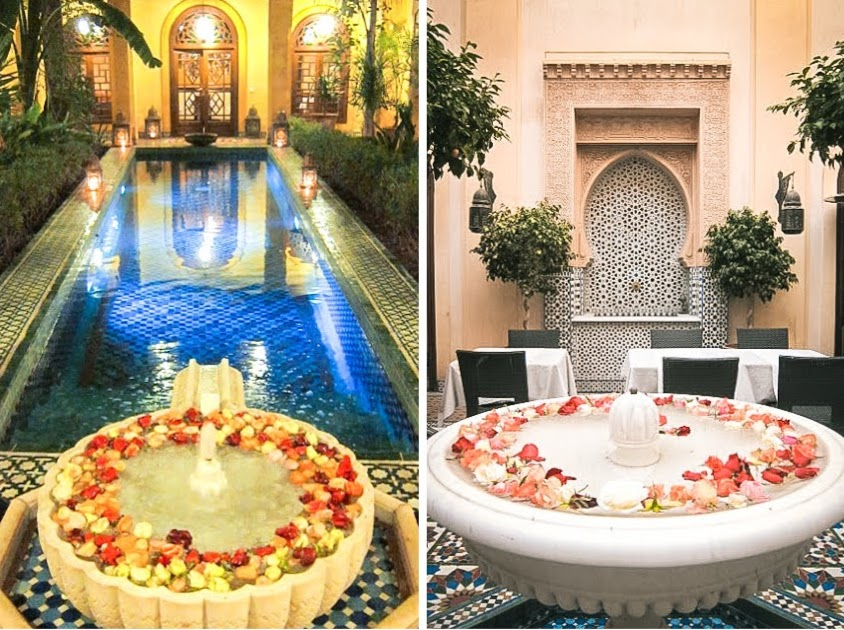 The swimming pool and fountains inside the riad.