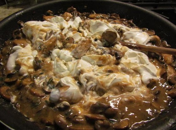Stir and saute for about 10 minutes then add your sour cream.