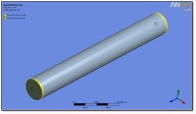 ANSYS | Граничные условия участка трубы как балки на двух опорах