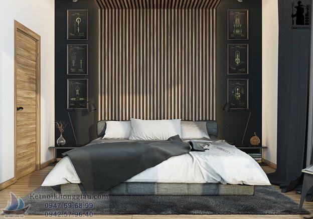 thiết kế phòng ngủ quyền quý đầy nam tính