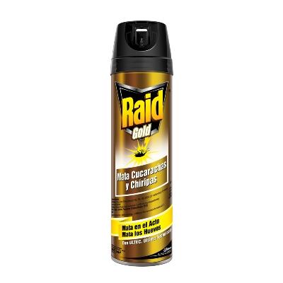 insecticida raid gold aer 360ml Mata cucarachas y chiripas instantáneamente y continua actuando por su potente efecto residual por semanas. Mata los huevos.