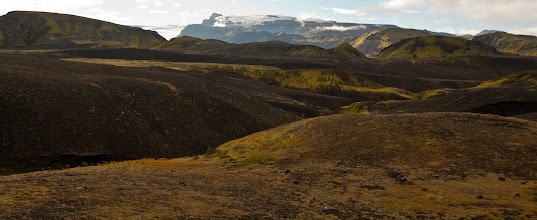 Photo: Mýrdalsjökull glacier. The icecap of the glacier covers an active volcano called Katla. The caldera of the volcano has a diameter of 10 km (6 mi) and the volcano erupts usually every 40–80 years. The last eruption took place in 1918. Scientists are actively monitoring the volcano, particularly after the eruption of nearby Eyjafjallajökull began in April 2010. Since the year 930, 16 eruptions have been documented.