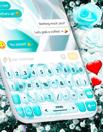 White Rose Keyboard 🌹 Beautiful Blue Roses Themes ss3