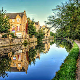 down the canal by Betty Taylor - City,  Street & Park  Vistas ( waterways, reflections, waterscape, hdr )