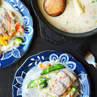 Poached Salmon Recipe with Coconut Milk and Grits.