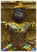 Photo: Grand Palace Guardian  Taken in the King's Grand Royal Palace, Bangkok. They had just recently renovated these Thai traditional figures & everything was bright, sparkling and newly painted.