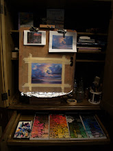 Photo: my easel and all my pretty colors!!!
