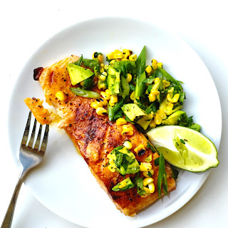 Honey-habañero Salmon With Charred Corn Salad