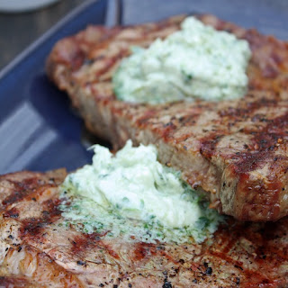 Grilled Ribeye Steak with Gorgonzola Butter.