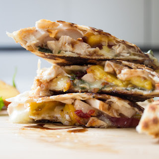 Peach, Chicken and Brie Quesadilla.