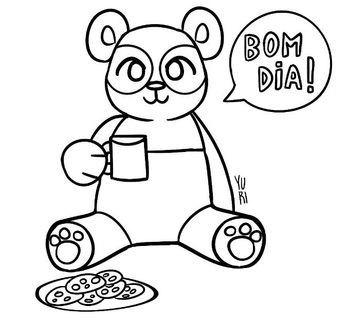 Desenho de panda tomando café #bomdia para colorir