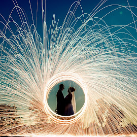Magical Sunset Sparklers by Robert Blair - Wedding Bride & Groom ( wedding photography, sparkler, wedding, bride, groom )