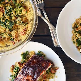 Asian Apple Glazed Salmon with Kale Quinoa.