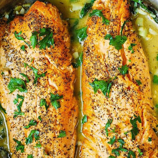 Trout with Garlic Lemon Butter Herb Sauce Recipe